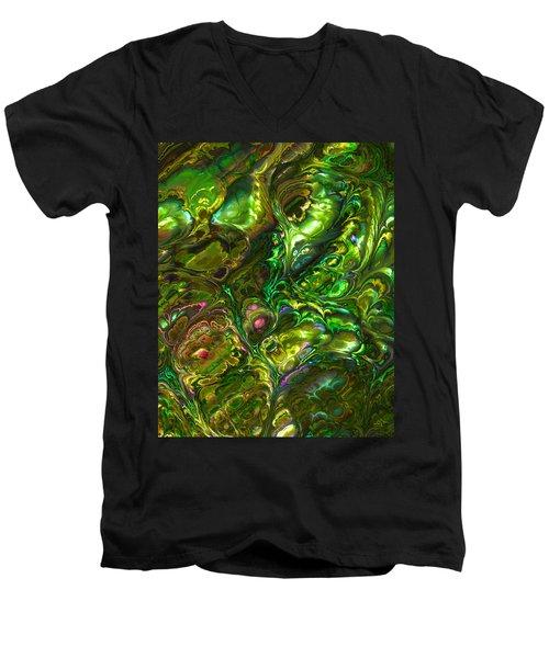 Green Abalone Abstract Men's V-Neck T-Shirt