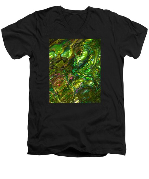 Green Abalone Abstract Men's V-Neck T-Shirt