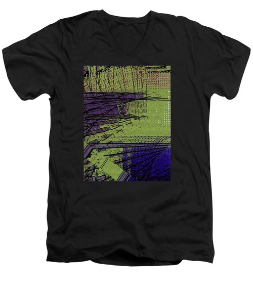 Green And Purple Field Men's V-Neck T-Shirt