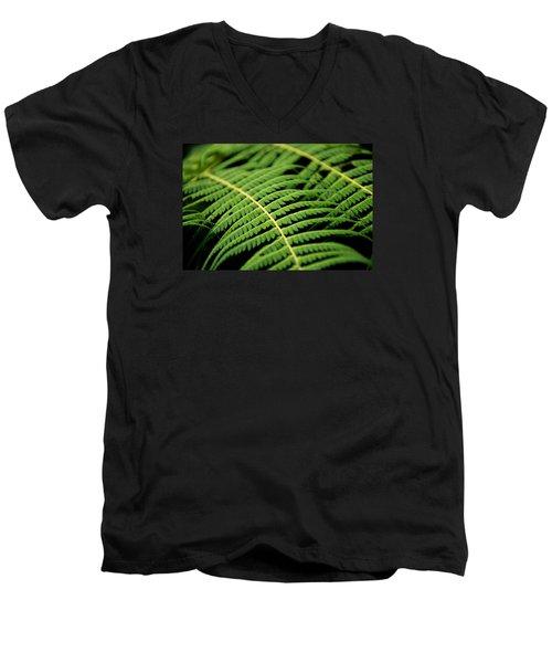 Green Bracken Men's V-Neck T-Shirt by Martin Capek