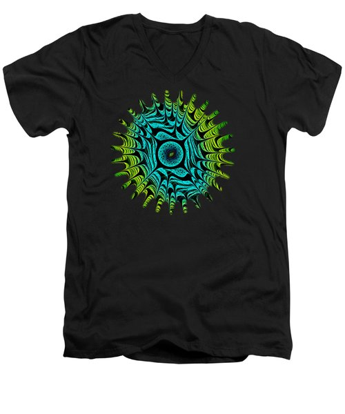 Green Dragon Eye Men's V-Neck T-Shirt by Anastasiya Malakhova