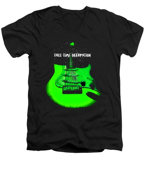 Men's V-Neck T-Shirt featuring the photograph Green Guitar Full Time Occupation by Guitar Wacky