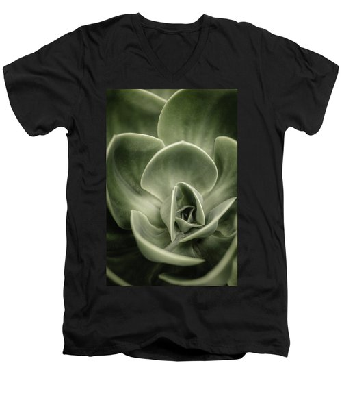 Men's V-Neck T-Shirt featuring the photograph Green Leaves Abstract IIi by Marco Oliveira