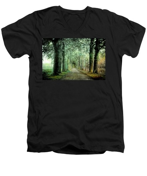 Men's V-Neck T-Shirt featuring the photograph Green Magic by Annie Snel