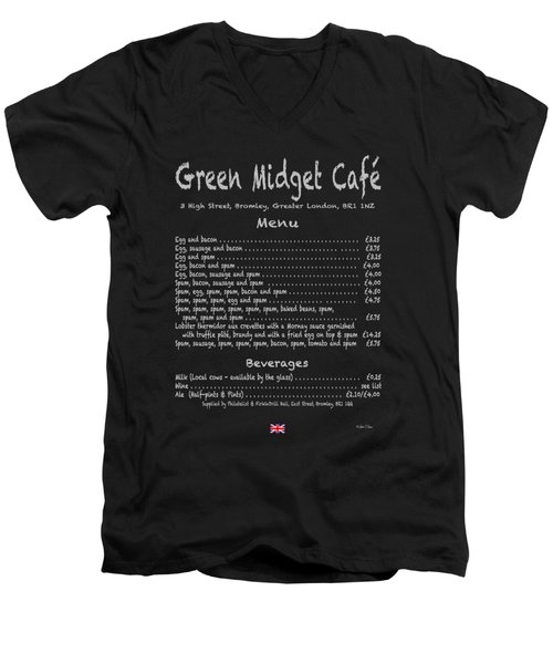 Green Midget Cafe Menu T-shirt Men's V-Neck T-Shirt by Robert J Sadler