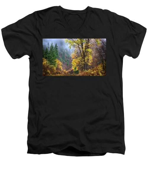 Green Mountain Fall Men's V-Neck T-Shirt