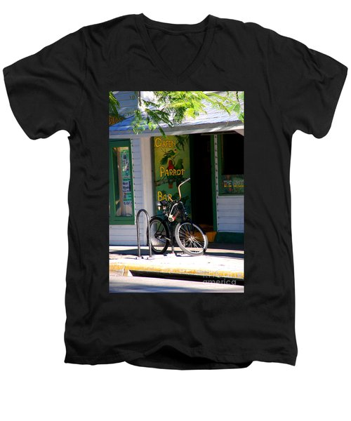 Green Parrot Bar Key West Men's V-Neck T-Shirt