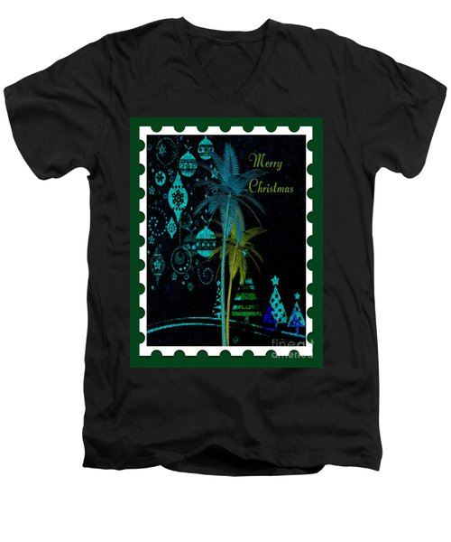 Men's V-Neck T-Shirt featuring the digital art Green Stamp by Megan Dirsa-DuBois