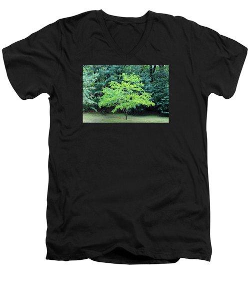 Green Standout Tree Men's V-Neck T-Shirt