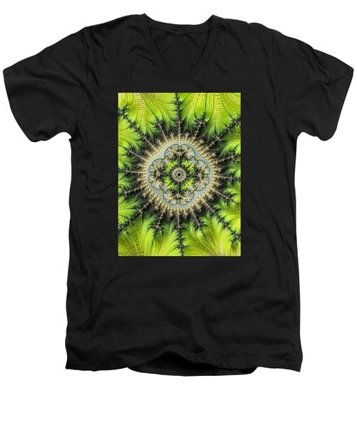 Men's V-Neck T-Shirt featuring the photograph Green Star by Ronda Broatch