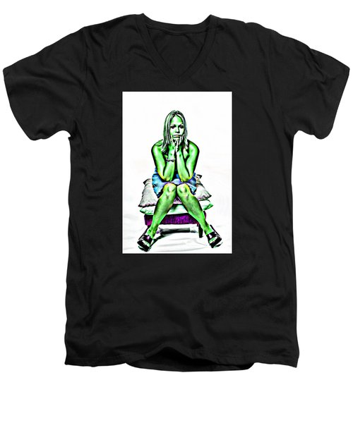 Men's V-Neck T-Shirt featuring the photograph Green Woman by Bob Pardue