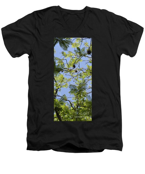 Greenery Left Panel Men's V-Neck T-Shirt