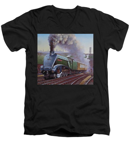 Gresley Pacific A4 Class. Men's V-Neck T-Shirt by Mike  Jeffries