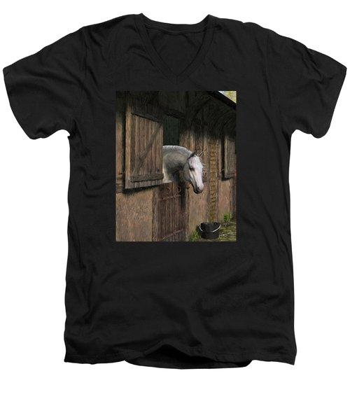 Grey Horse In The Stable - Waiting For Dinner Men's V-Neck T-Shirt by Jayne Wilson