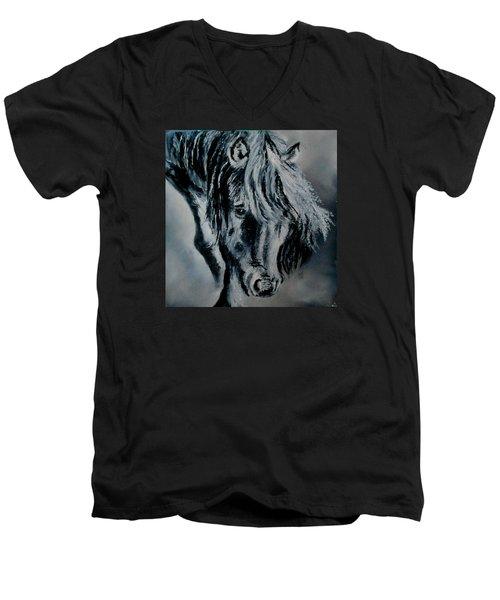 Grey Horse Men's V-Neck T-Shirt by Maris Sherwood