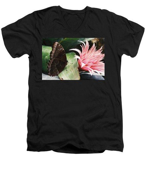 Grey Pansy Pink Bromeliad Men's V-Neck T-Shirt