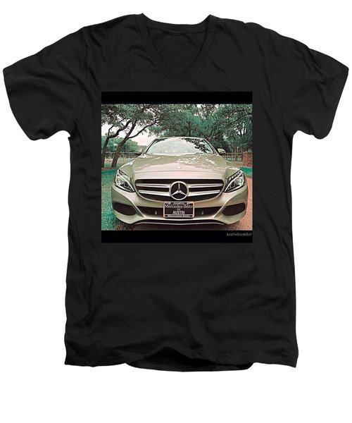 #grey #sky And A #silver Grey #car Men's V-Neck T-Shirt