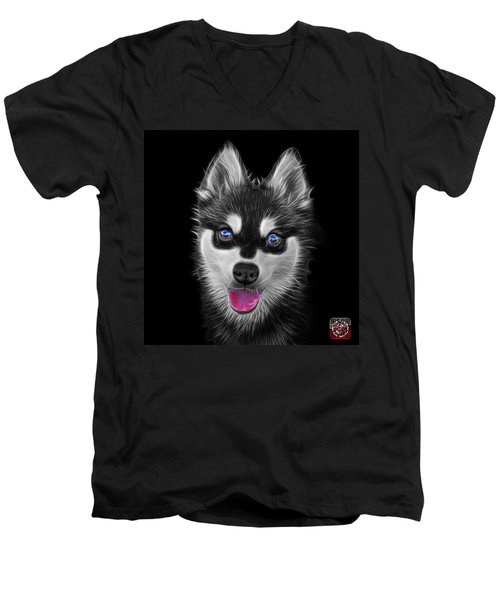 Greyscale Alaskan Klee Kai - 6029 -bb Men's V-Neck T-Shirt