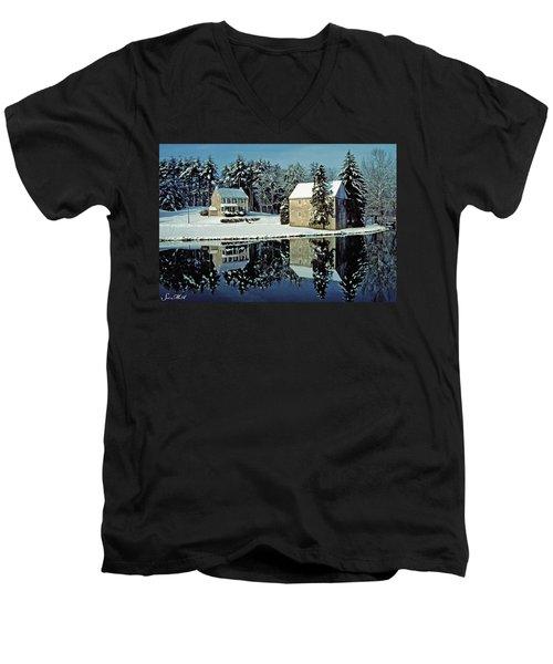 Grings Mill Snow 001 Men's V-Neck T-Shirt