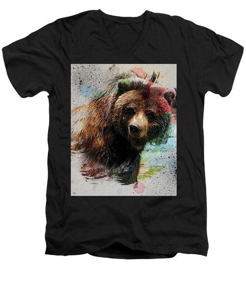 Grizzly Bear Art Men's V-Neck T-Shirt by Ron Grafe