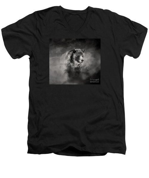 Men's V-Neck T-Shirt featuring the photograph Grizzly Black And White In Clouds by Clare VanderVeen