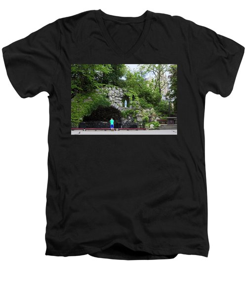 Grotto Of Our Lady Of Lourdes Men's V-Neck T-Shirt