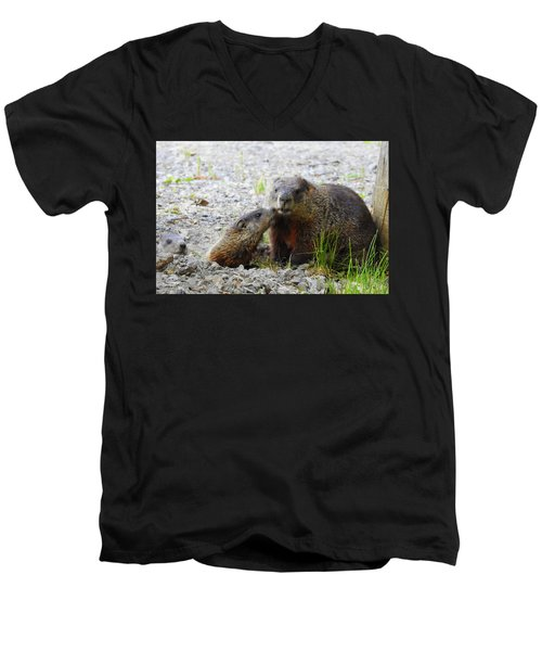 Men's V-Neck T-Shirt featuring the photograph Groundhog Kiss by Betty-Anne McDonald