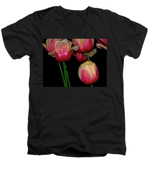 Grouping Ofpink And Yellow Tulips Men's V-Neck T-Shirt