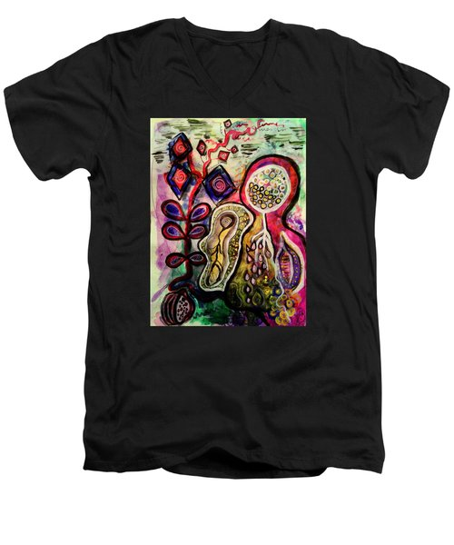 Men's V-Neck T-Shirt featuring the mixed media Growth by Mimulux patricia no No