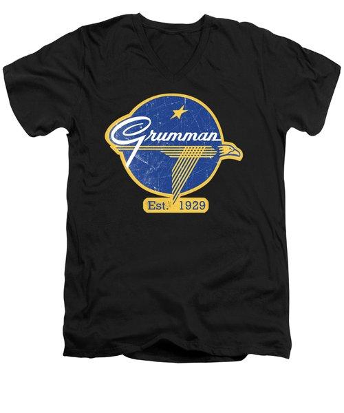 Grumman Est 1929 Distressed Men's V-Neck T-Shirt