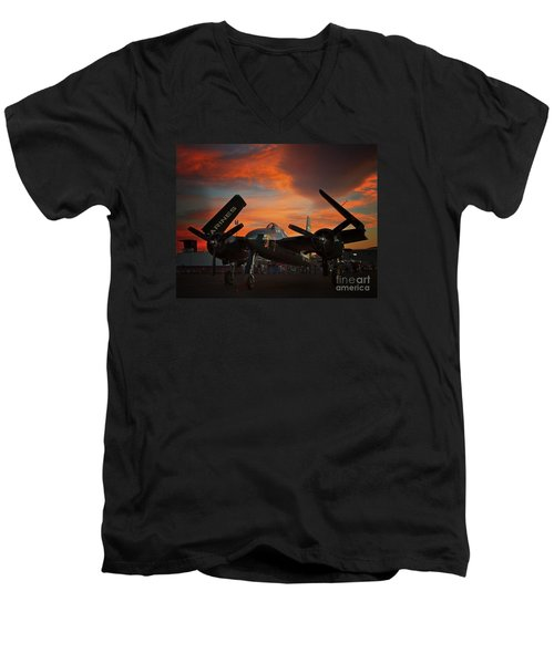 Grumman F7f Tigercat Fire Tiger Men's V-Neck T-Shirt