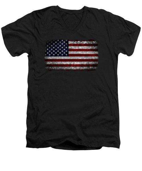 Grunge American Flag Men's V-Neck T-Shirt by Martin Capek
