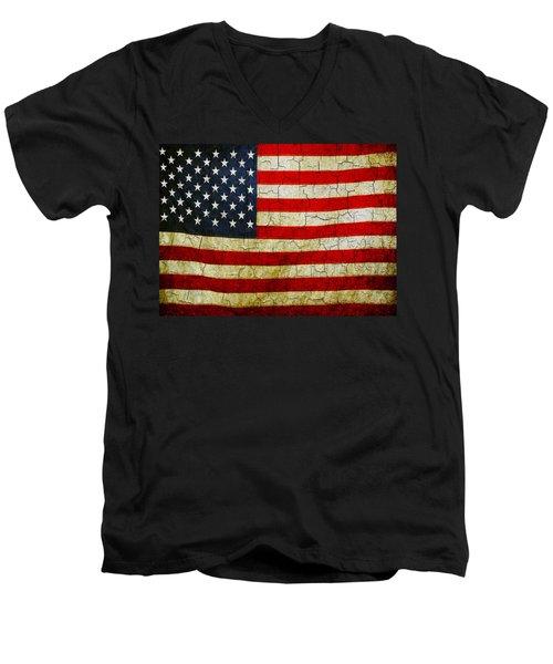 Grunge American Flag  Men's V-Neck T-Shirt