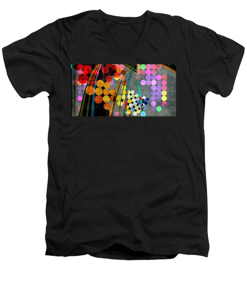 Men's V-Neck T-Shirt featuring the digital art Grunge City Lights by Fran Riley