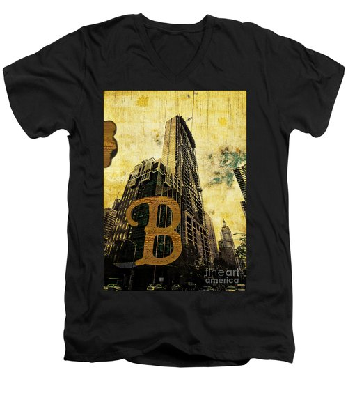 Grungy Melbourne Australia Alphabet Series Letter B Central Busi Men's V-Neck T-Shirt
