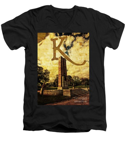 Grungy Melbourne Australia Alphabet Series Letter K Kings Domain Men's V-Neck T-Shirt