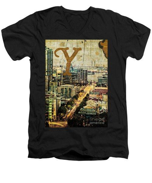 Grungy Melbourne Australia Alphabet Series Letter Y Yarra River Men's V-Neck T-Shirt