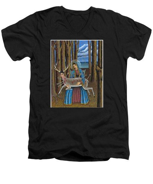 Guadalupe Visits Frida Kahlo Men's V-Neck T-Shirt by James Roderick