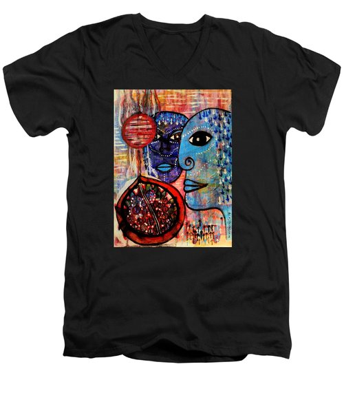 Men's V-Neck T-Shirt featuring the painting Guarding The Pomegranate by Mimulux patricia no No