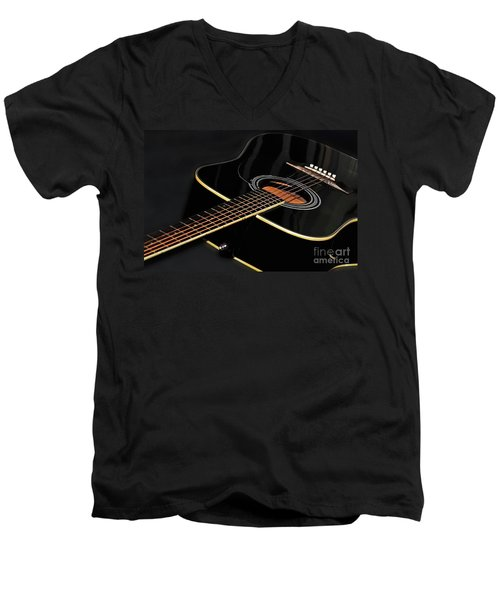 Men's V-Neck T-Shirt featuring the photograph Guitar Low Key By Kaye Menner by Kaye Menner