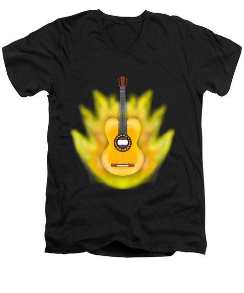 Guitar On Fire Men's V-Neck T-Shirt