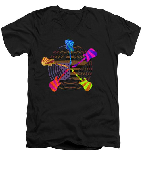 Guitars Stars And Stripes  Men's V-Neck T-Shirt