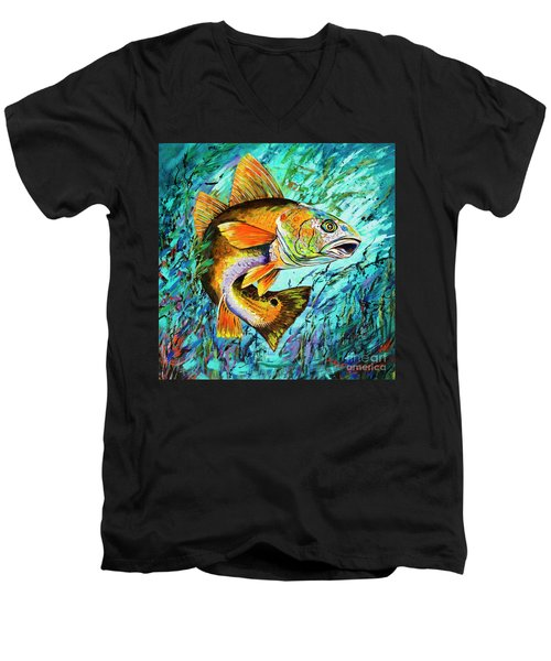 Men's V-Neck T-Shirt featuring the painting Gulf Coast Red by Dianne Parks