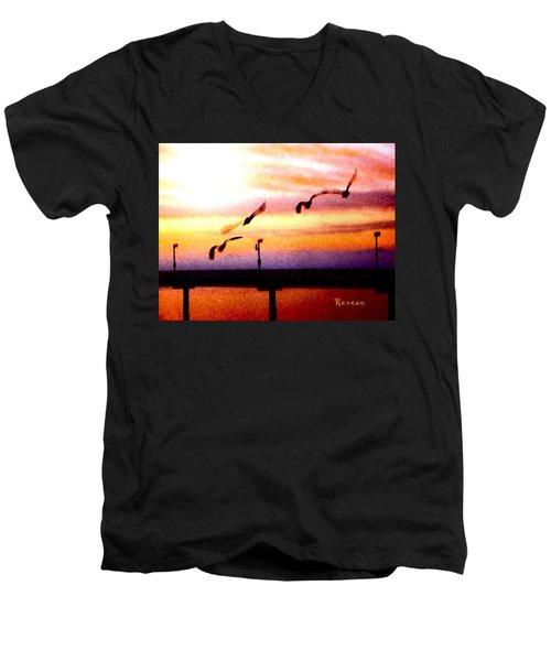 Gull Play Men's V-Neck T-Shirt by Sadie Reneau
