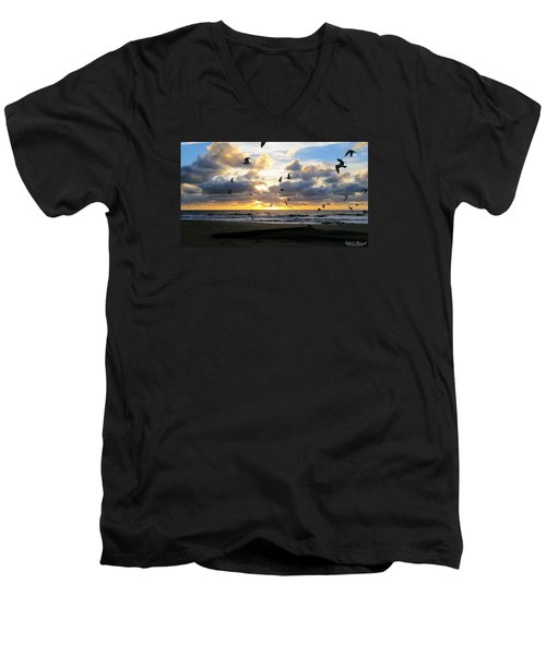 Men's V-Neck T-Shirt featuring the photograph Gulls Take Wing by Robert Banach