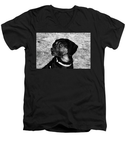 Gus - Black And White Men's V-Neck T-Shirt