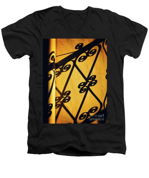 Men's V-Neck T-Shirt featuring the photograph Gutter And Ornate Shadows by Silvia Ganora