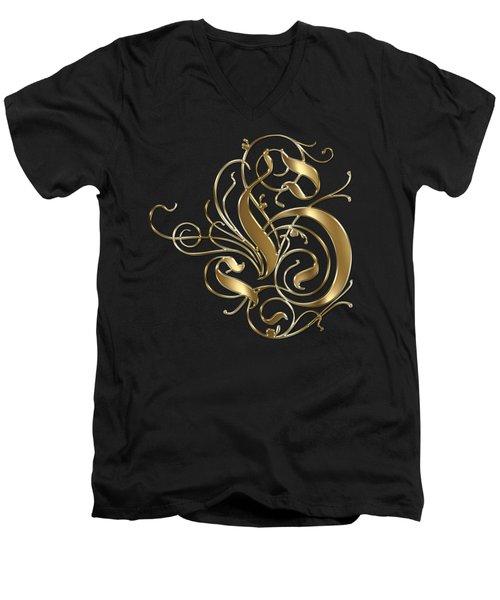 H Ornamental Letter Gold Typography Men's V-Neck T-Shirt
