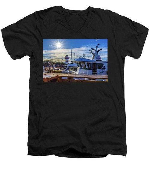 Habour Town Lighthouse And Marina Men's V-Neck T-Shirt