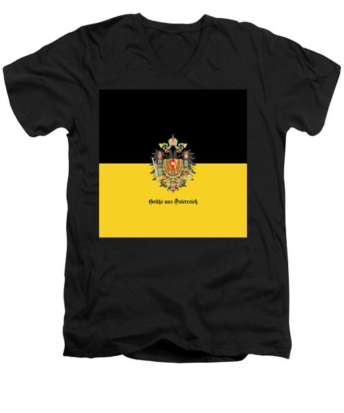 Habsburg Flag With Imperial Coat Of Arms 1 Greetings Men's V-Neck T-Shirt